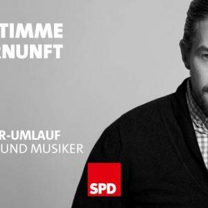 """Ein Foto von Moderator Klaas Heufer-Umlauf mit dem Schriftzug """"Meine Stimme für Vernunft"""". Das """"V"""" bildet ein stilisiertes Herz."""