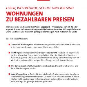 """Ein Flugblatt zum Thema """"Bezahlbarer Wohnraum"""""""