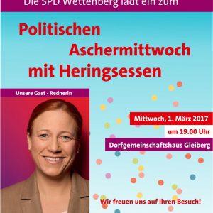 """Ein Flyer mit dem Text: """"Die SPD Wettenberg lädt ein zum Politischen Aschermittwoch mit Heringsessen. Mittwoch 1. März 2017 um 19:00 im Dorfgemeinschaftshaus Gleiberg. Wir freuen uns auf Ihren Besuch! Daneben ein Bild von Dagmar Schmidt."""